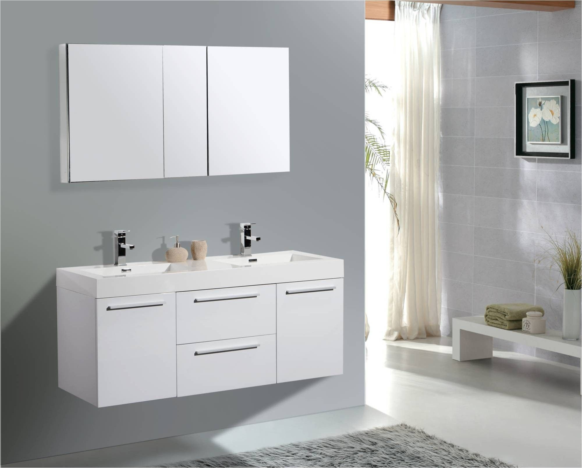 Elegant Style Of Wall Mounted Bathroom Vanity: Wall Mounted Bathroom Vanity  With 54 Inch Bathroom