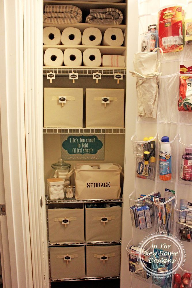 Small linen closet organization small linen closets for Extra closet storage
