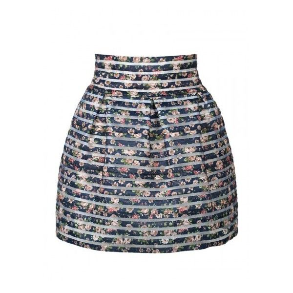 Choies Blue Floral Sheer Stripe High Waist Bubble Skirt ($14) ❤ liked on Polyvore featuring skirts, high waisted knee length skirt, flower print skirt, sheer skirt, high rise skirts and floral knee length skirt