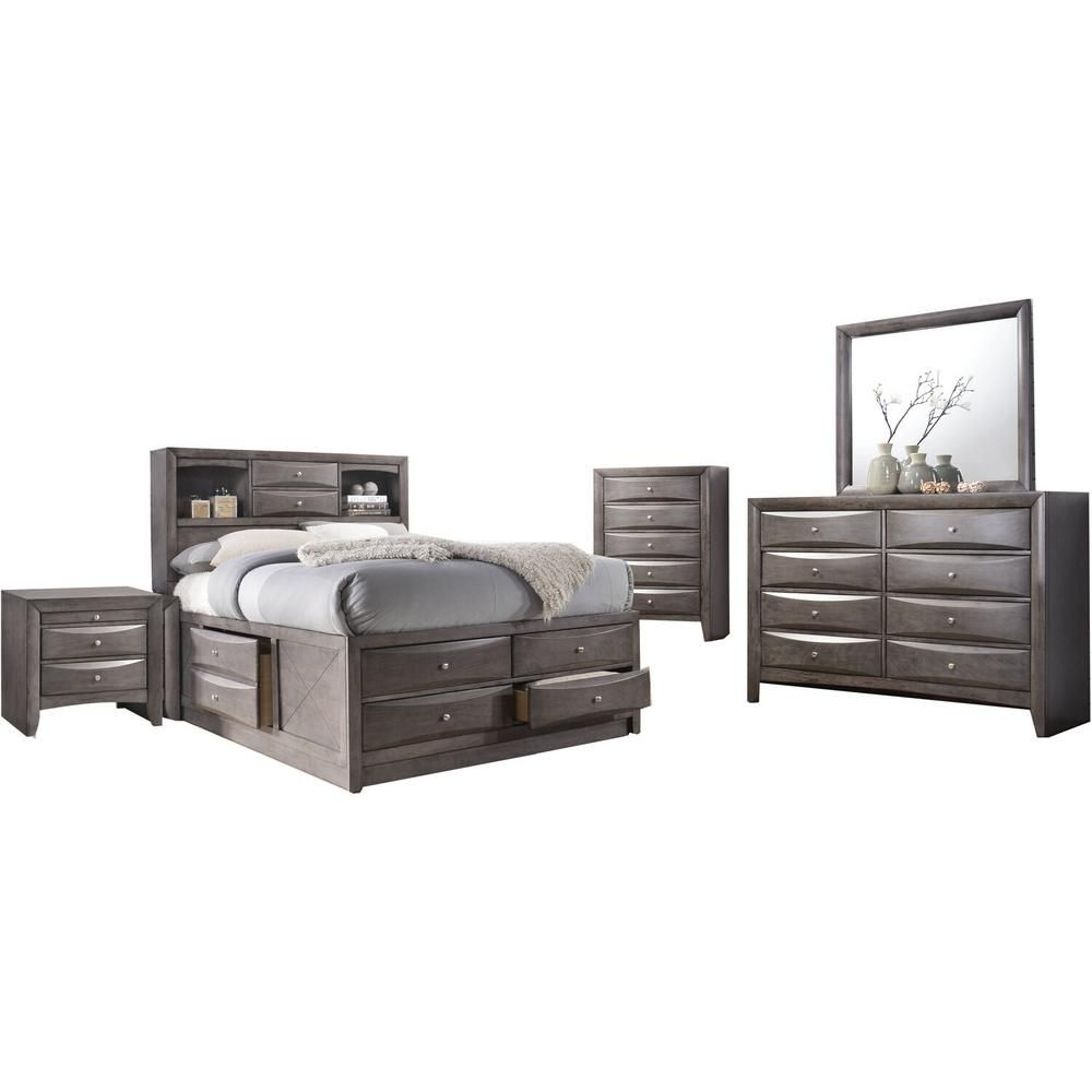 Cambridge Orleans Storage 5 Piece Gray Queen Size Bedroom Set