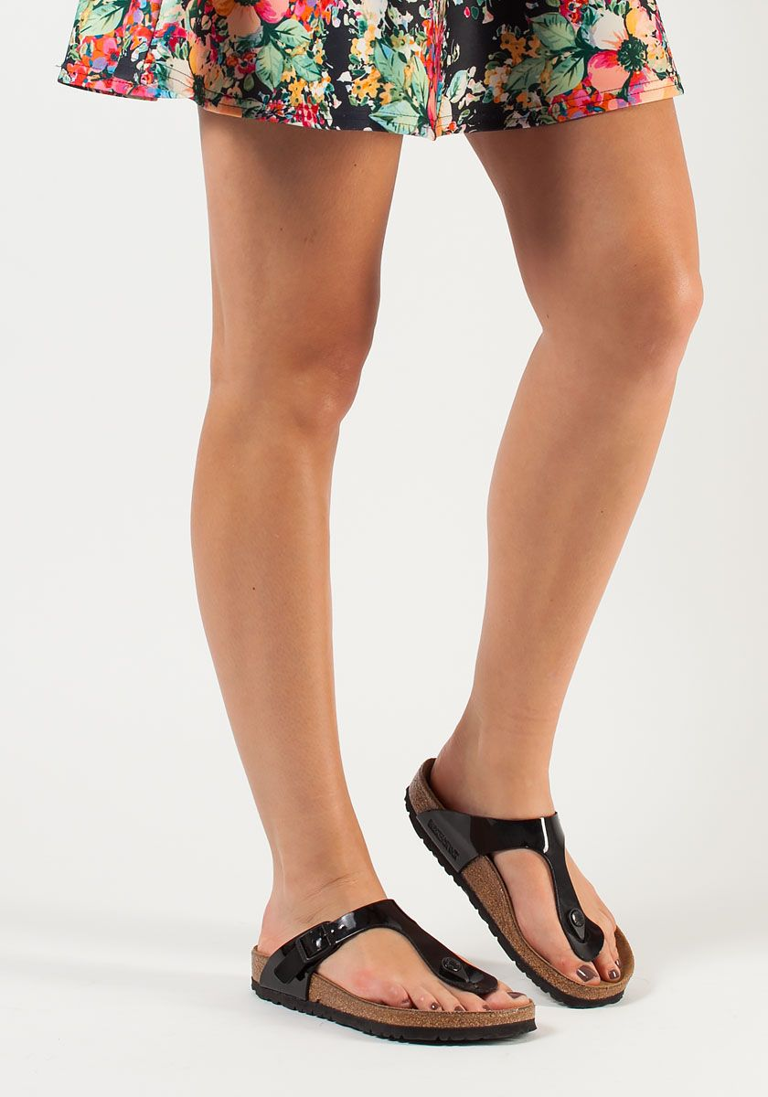 d2fef3c1b Birkenstock | Gizeh Thong Sandal Black Patent Birko Flor | Lyst. View  Fullscreen