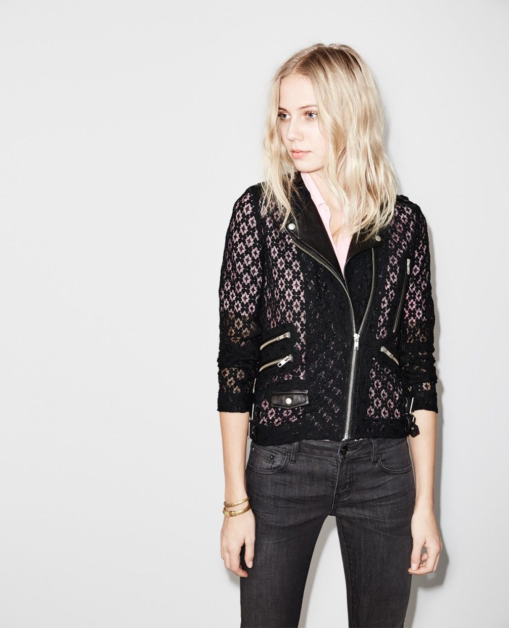 Biker jacket in lace with leather details Jackets