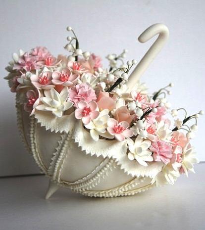Wedding cake topper - cherry blossom fill parasol.