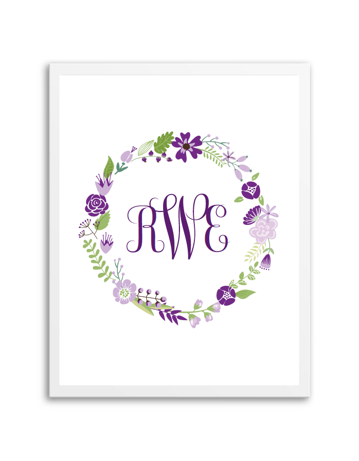 floral wreath monogram purple jess and ollie s baby shower