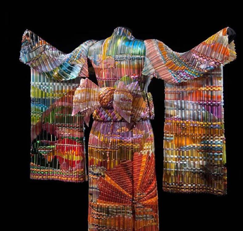 Autumn Sunset Kimono by Marko & Norris, Weisser Glass Studio, Kensington, MD.  It's made of woven glass!