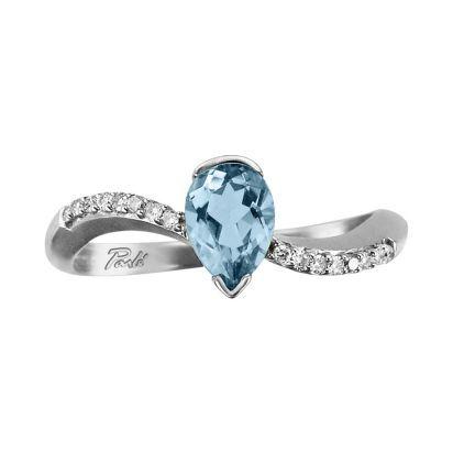 14 k white gold Aquamarine and diamond swoop ring