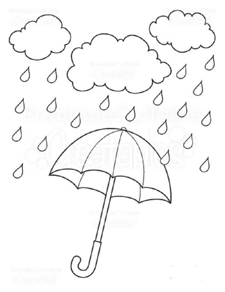 Umbrella Coloring Pages Rain Umbrella Coloring Page Free