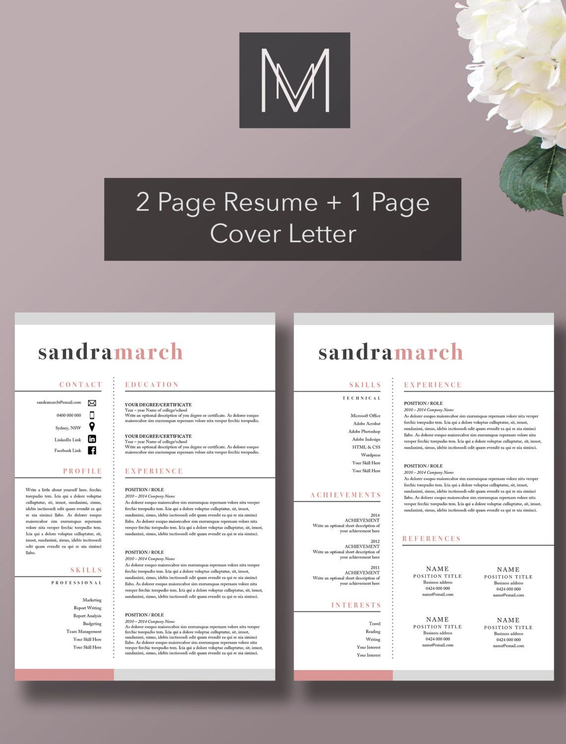 Professional Resume Template   Page Resume   Page Cover Letter