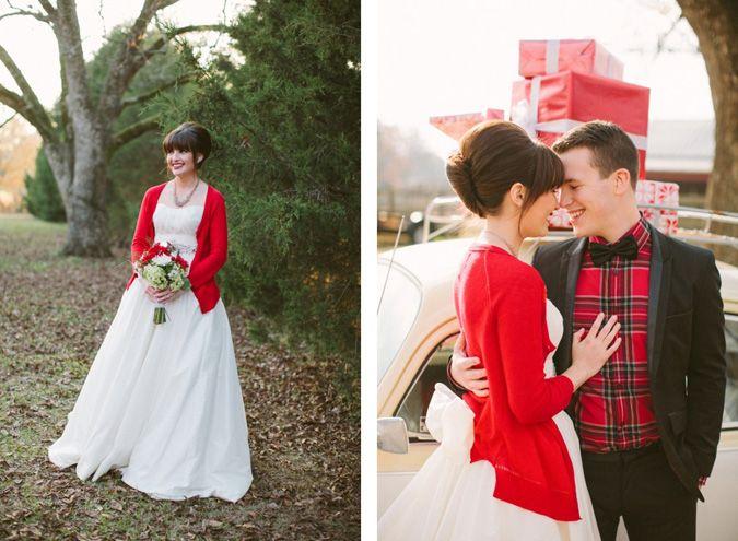 novia con chaqueta roja