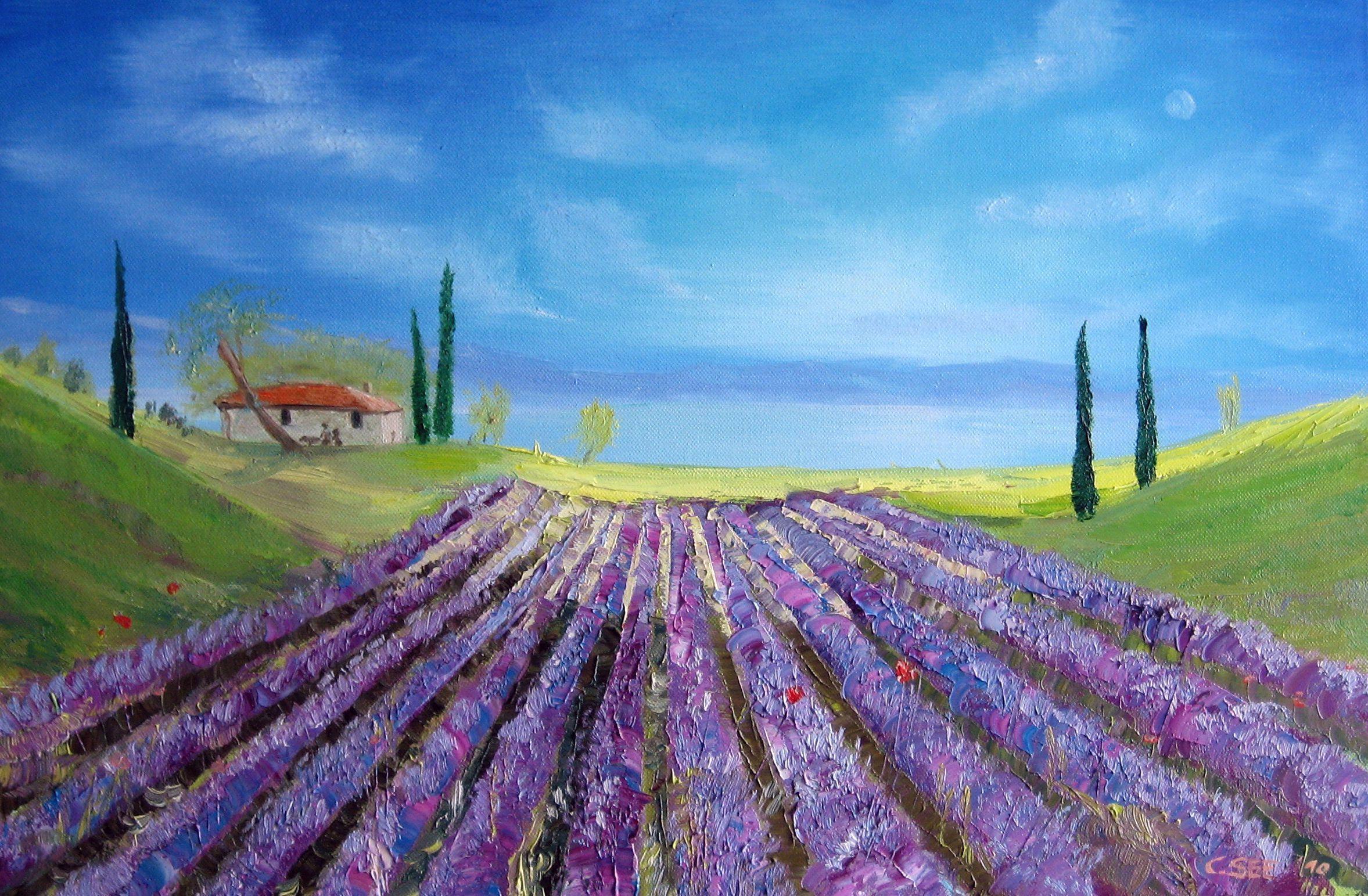 Lavendelfeld Aus Der Kunstreihe Olgemalde Von Cinque Terre