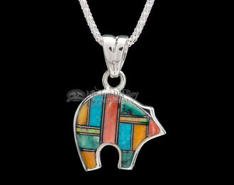 """Inlaid Silver Pendant & Necklace 22"""""""" -Reversible (ij379)"""