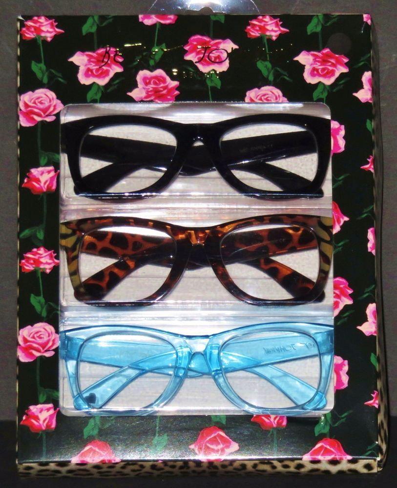 34fc3fc8464a AUTHENTIC BETSEY JOHNSON READERS 3 PAIR 2.50 READING GLASSES OVERSIZED  WAYFARER  BetseyJohnson