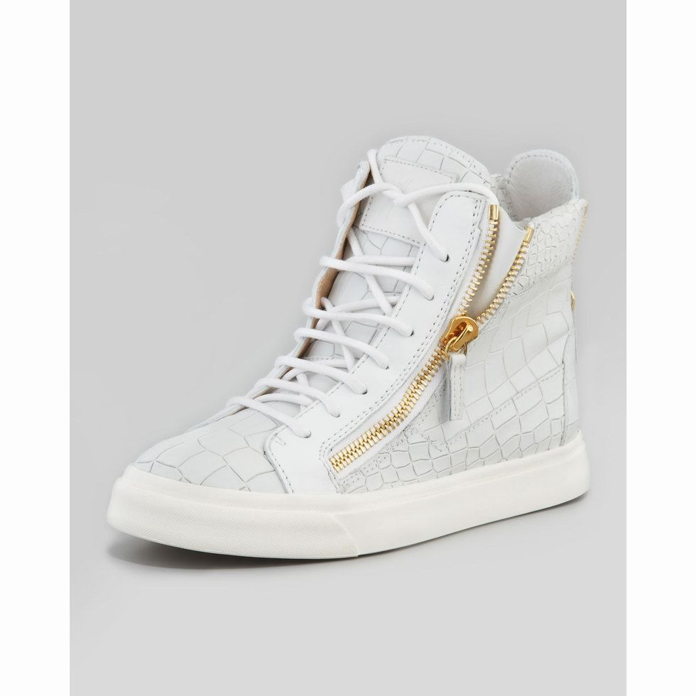 59edaf74bedf Giuseppe Zanotti Mens Croc Embossed London Sneaker In White Model   gzmenshoes015 580 Units in Stock Manufacturer  Giuseppe Zanotti  770.00   280.00