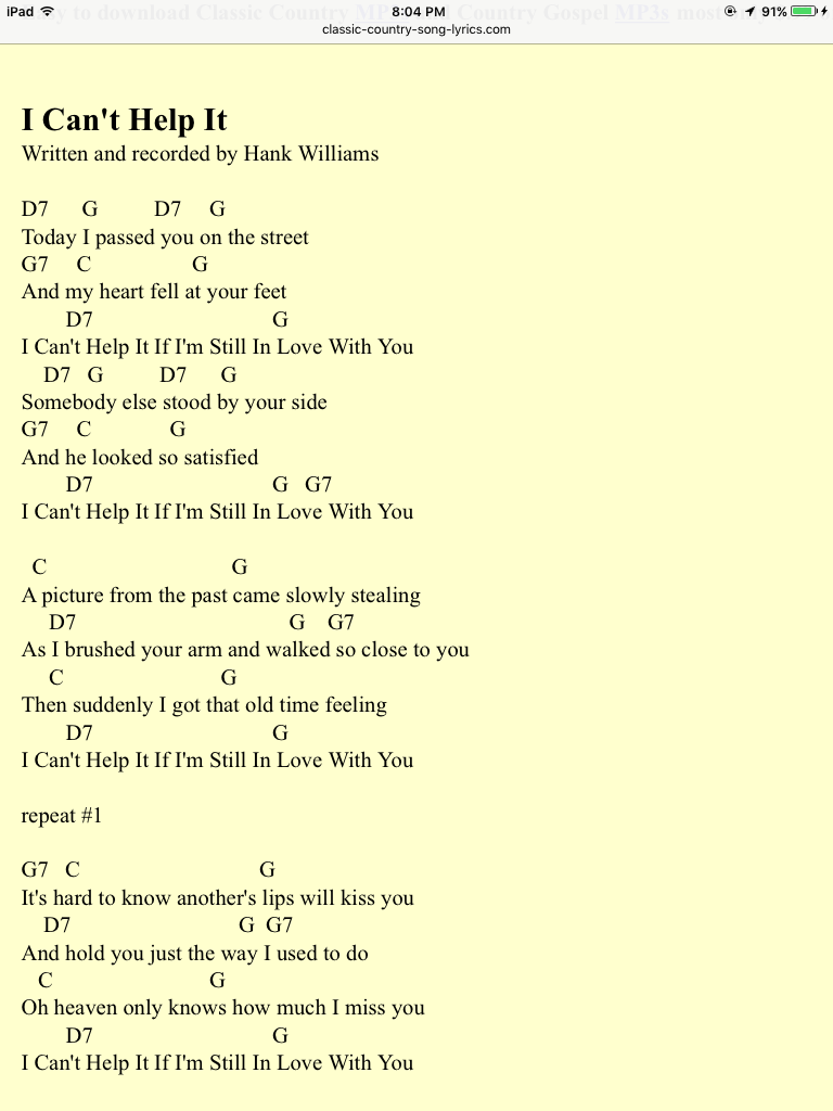 I Can T Help It Hank Williams Song Lyrics And Chords Guitar Songs Songs
