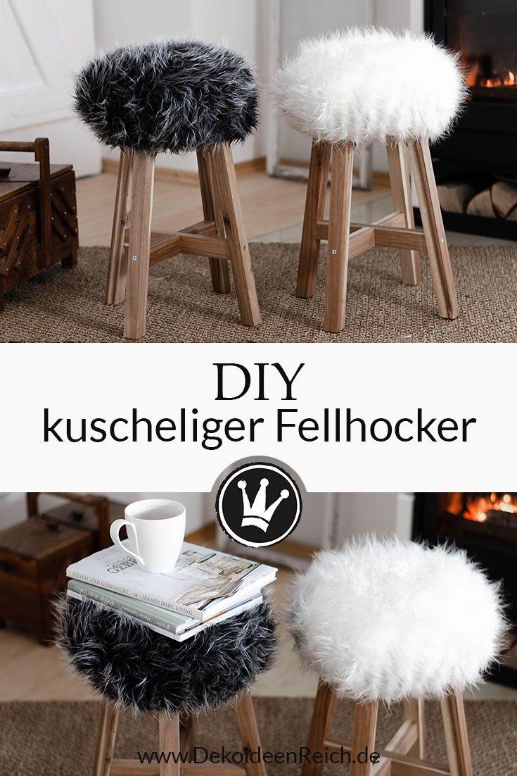 DIY Fell-Hocker: Sitzbezug aus Fell für einen Holzhocker nähen
