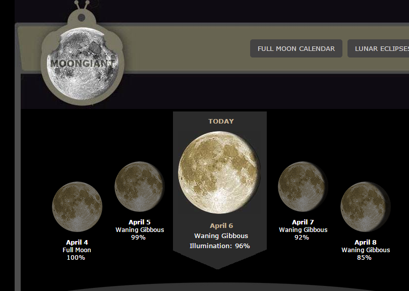 Moongiant Website Shows The Phase Of The Moon In Teaching Science Moon Today Moon