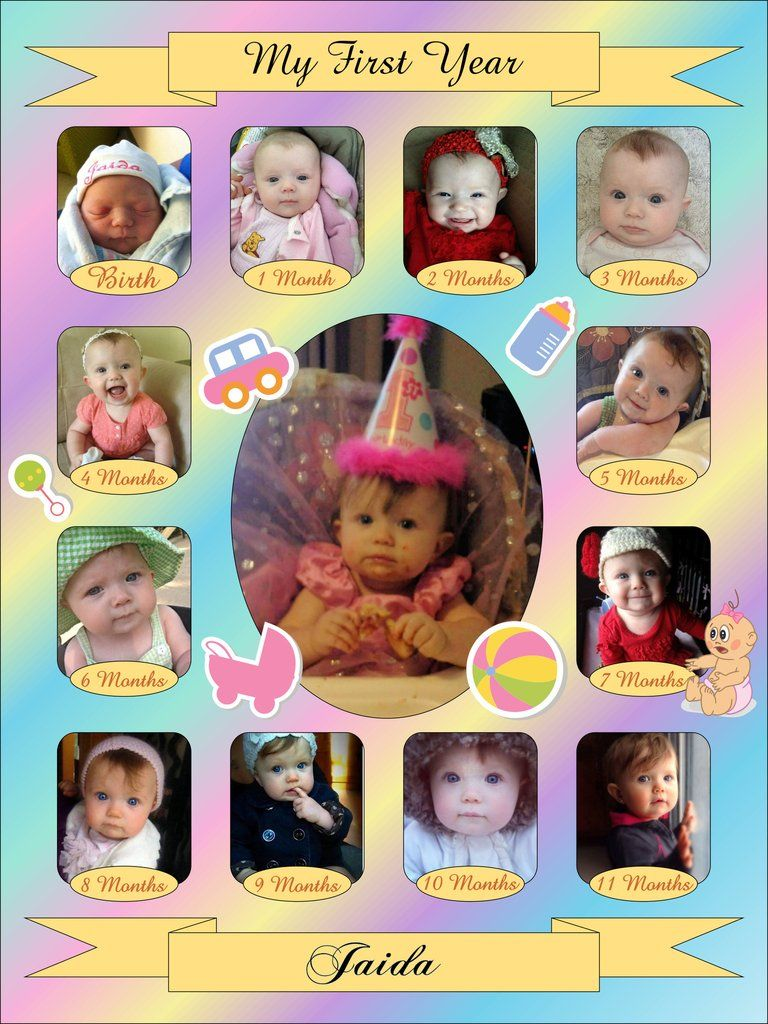Baby S First Year Collage Templates Discovery Center Store Collage Template Birthday Collage Baby Birthday Party Girl