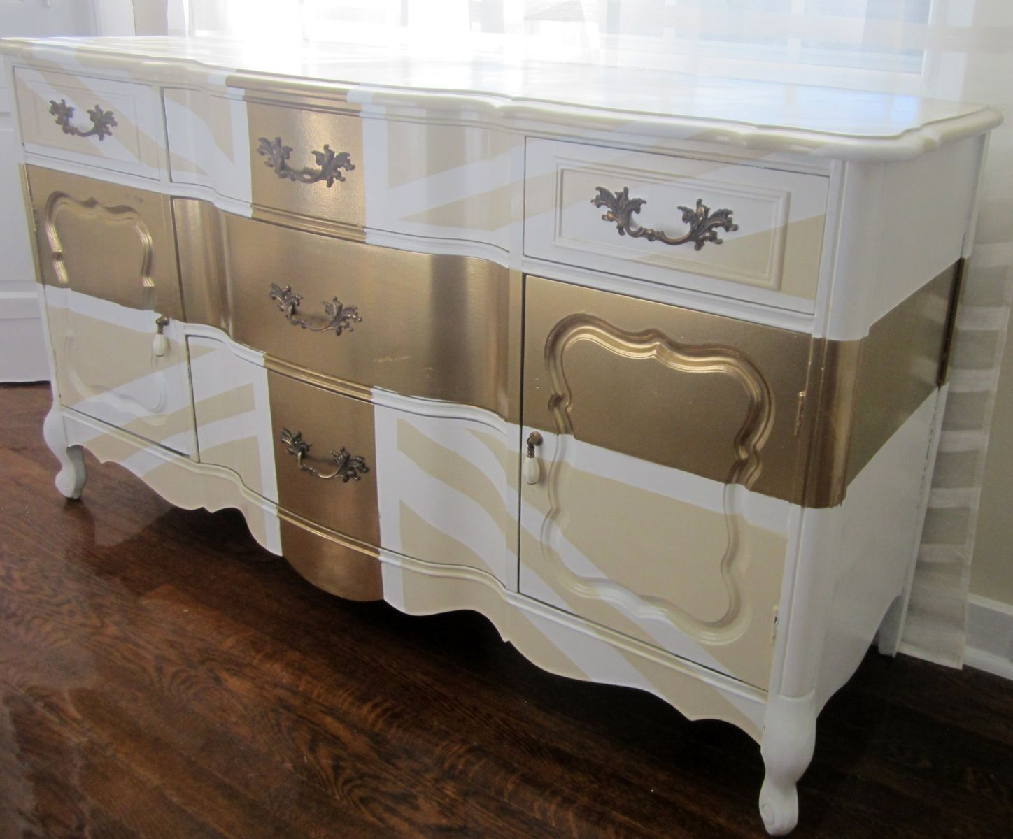 Vintage And Charming Big Ben Dresser With Lovely Gold Paint