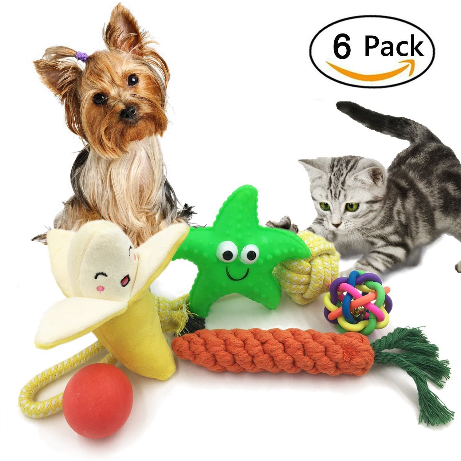 6 Pack Dog Toy Set Ball Rope and Chew Squeaky Toys for Small Medium ... | Best Dog Toys For Small Dogs