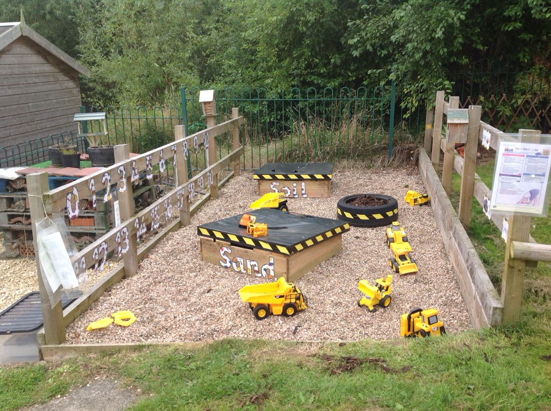 Construction area , small world out doors. Early years ...
