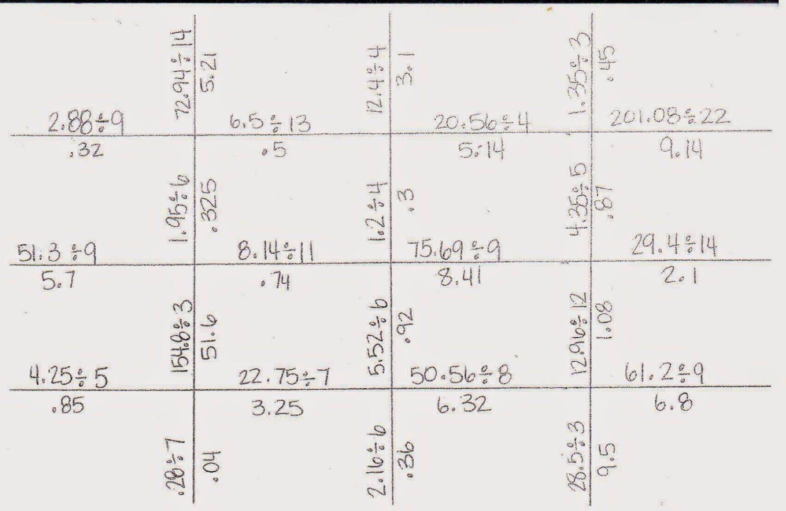 Dividing Decimal Puzzle