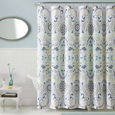 Sophisticated In Design And Lively In Color, The VCNY Amherst Shower Curtain  Brings A Lively
