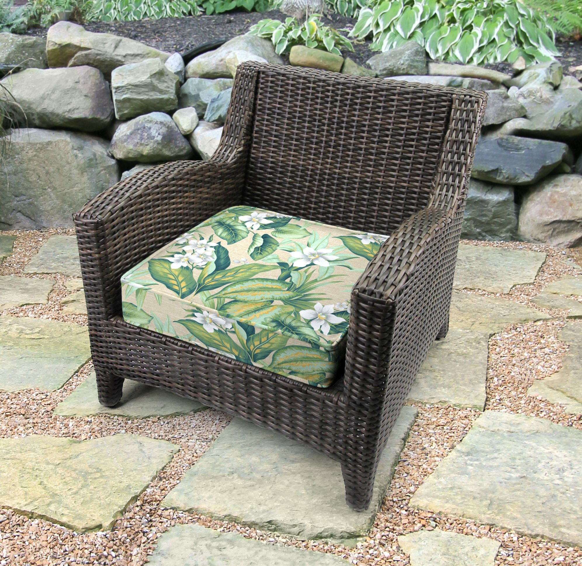 Jordan Manufacturing Outdoor Boxed Edge Deep Seat Cushion Tahiti Breeze In 2021 Deep Seat Cushions Outdoor Deep Seat Cushions Jordan Manufacturing