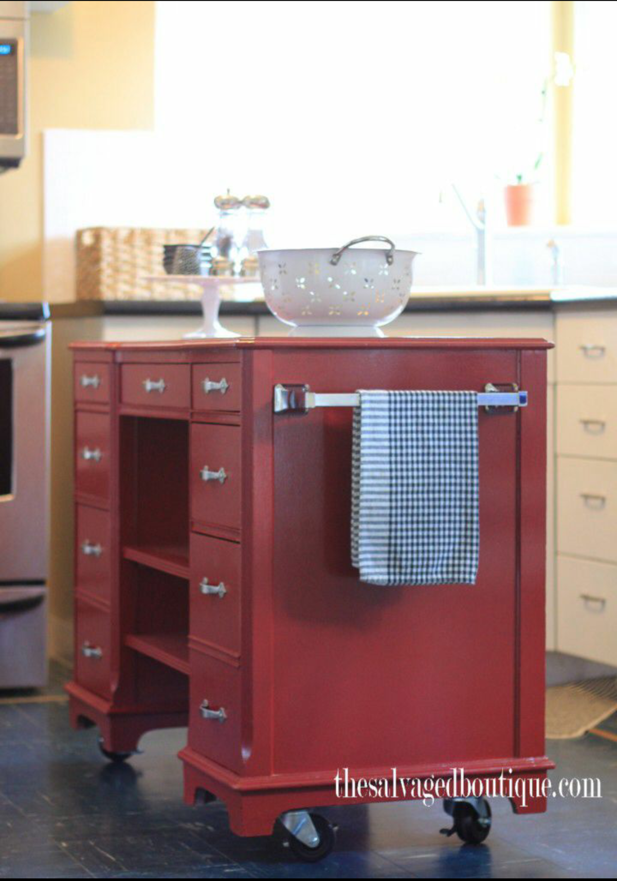 an old desk becomes a sleek kitchen island kitchen island cart kitchen island bar rolling on kitchen island ideas kitchen bar carts id=65641