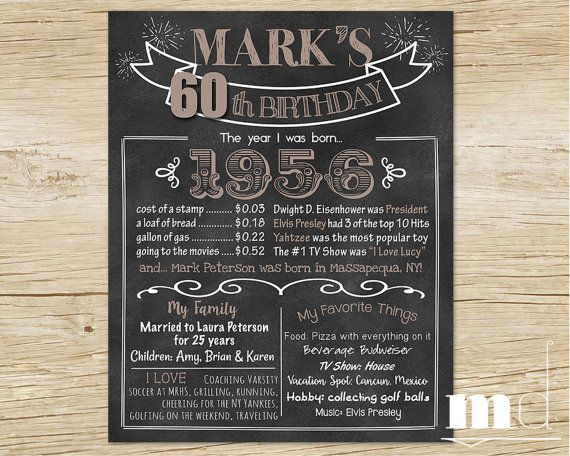60th Birthday Chalkboard Poster / 1956 Stats Board / Born in 1956 Sign / Adult Male Men's Birthday Gift by MulliganDesign on Etsy