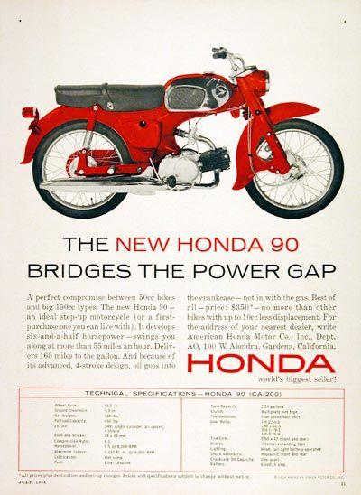 1964 honda 90cc motorcycle original vintage ad. a perfect