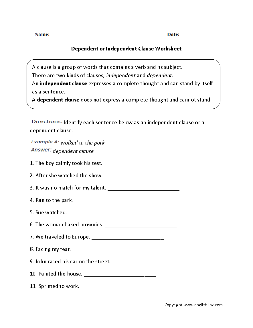Dependent or Independent Clauses Worksheet – Independent Clause Worksheet