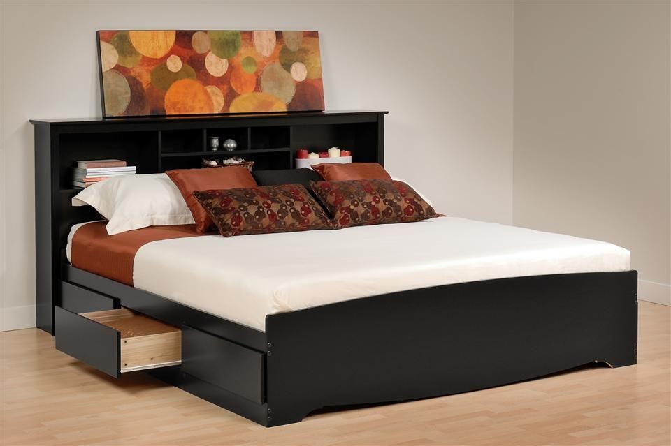 Mate\u0027s Platform Storage Bed w Bookcase Headboard Bedroom siesta