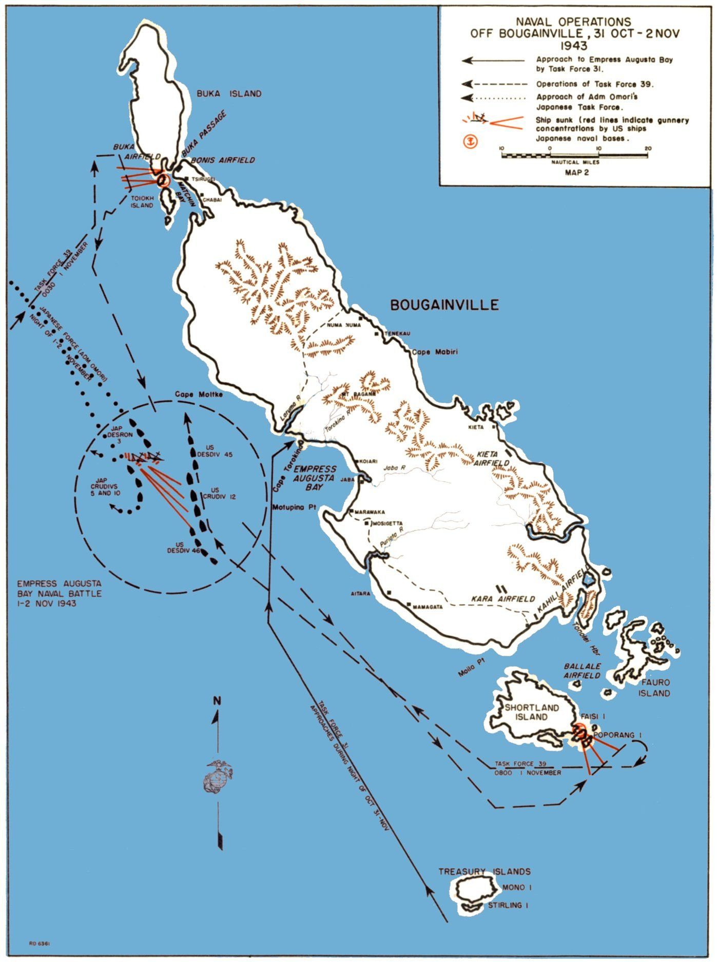 Map] Map noting American naval operations off Bougainville, Solomon ...