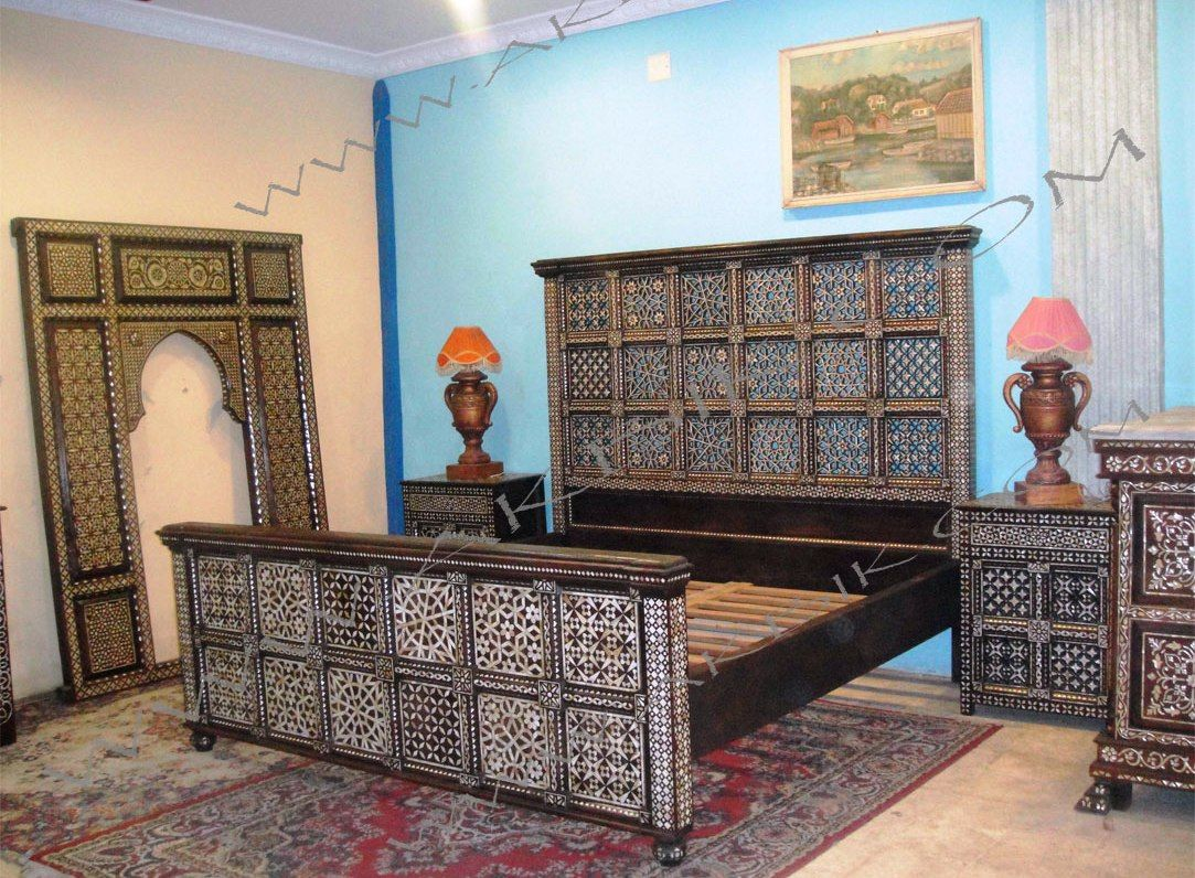 Inlaid syrian bedroom furniture mother of pearl beds