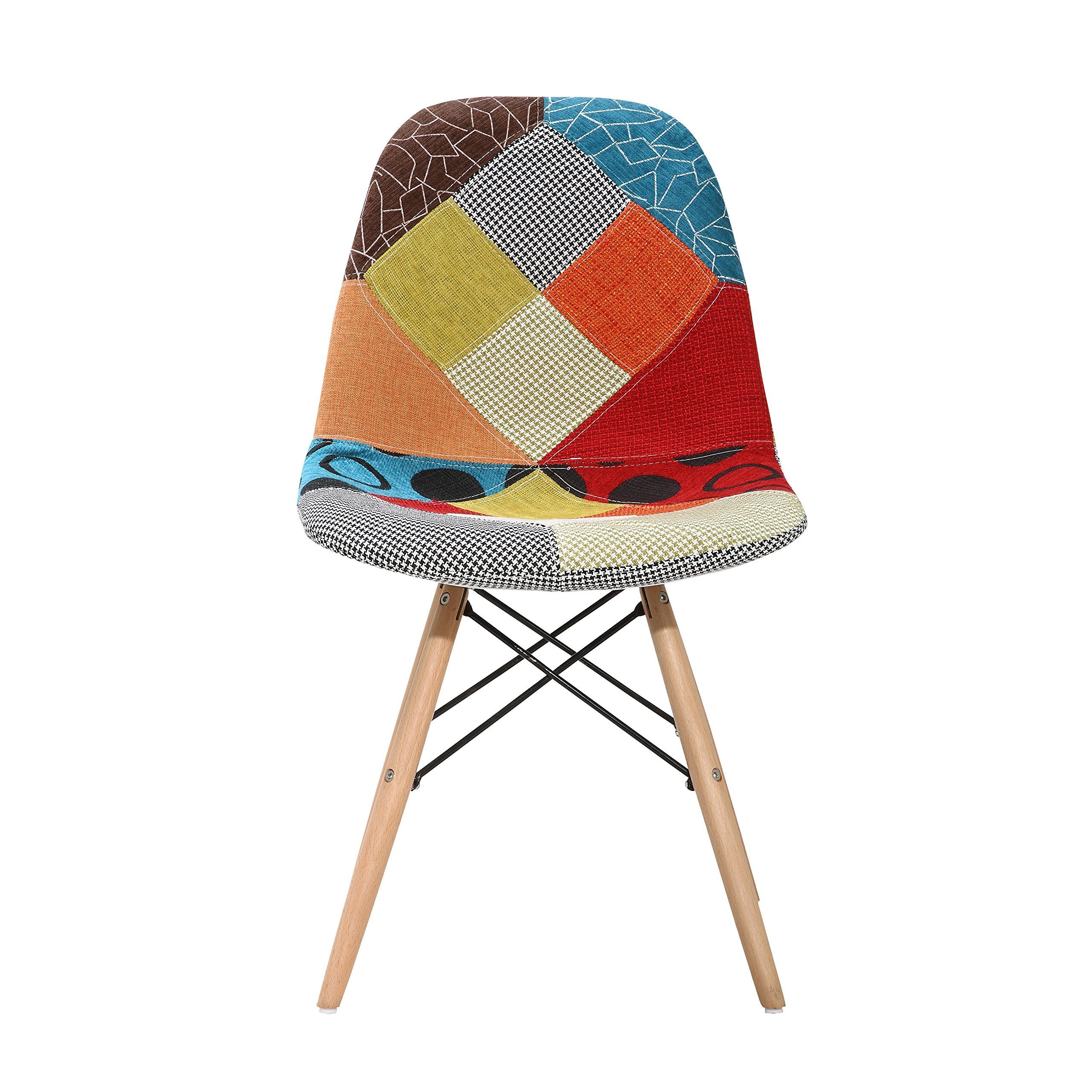 Porthos Home Midcentury Vallen Chair Set Of 2 Patchwork Find Out More About The Great Product At Th Patchwork Chair Wood Side Chair Solid Wood Dining Chairs
