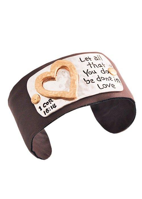 1 Corinthians 16:14 Leather Cuff Bracelet