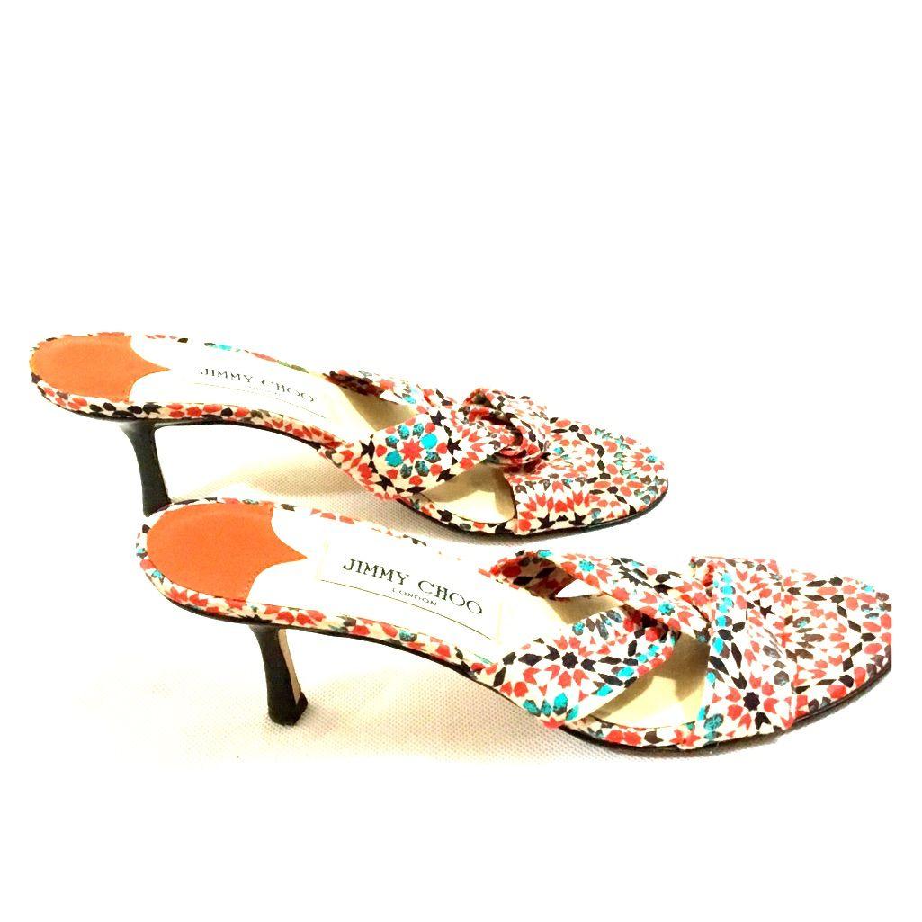 Jimmy Choo Floral Twist Fabric Kitten Heel Sandals Kitten Heel Sandals Kitten Heels Sandals Heels