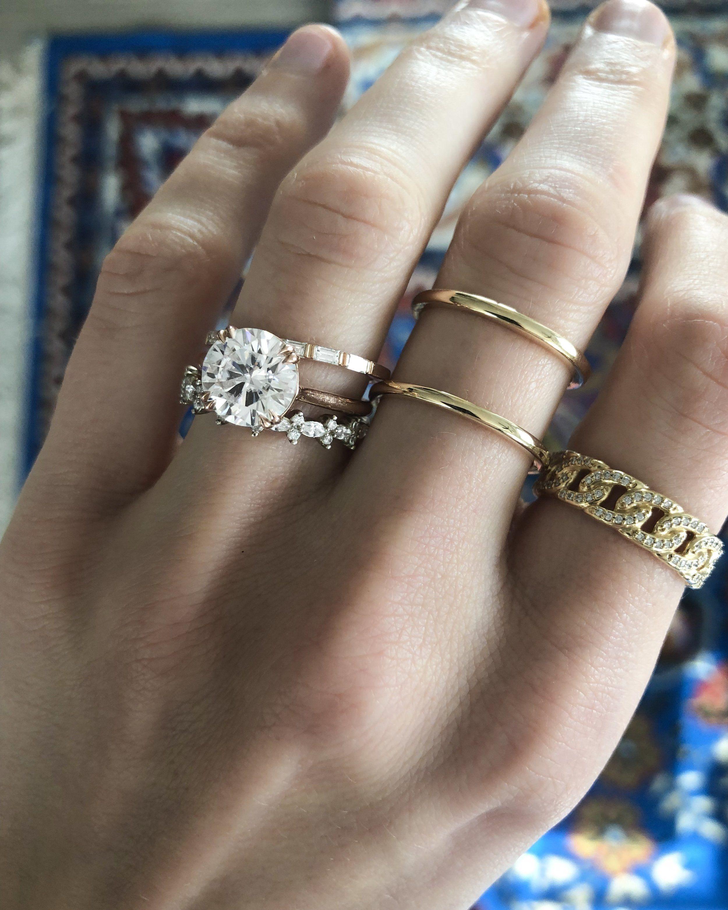 Gap Stacker Matching Wedding Rings Bridal Earrings Gold