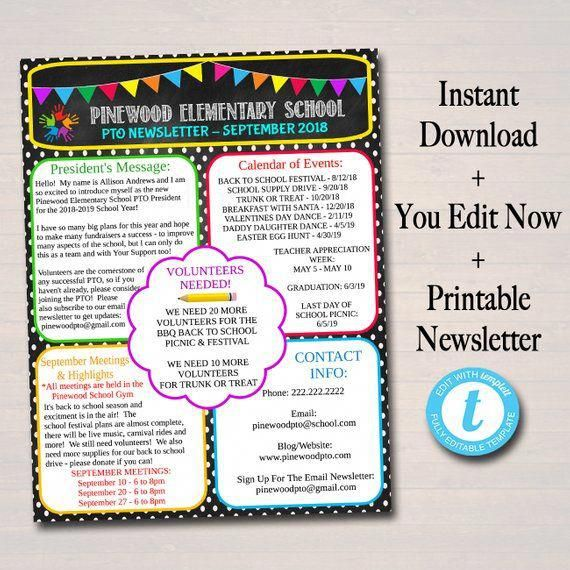 editable pto pta newsletter flyer printable handout school year