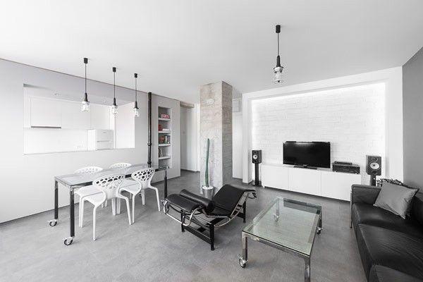 Unterhaltung-Konsole die Speicherung in Kaktus in ein schwarz-weiß - wohnzimmer design weiss