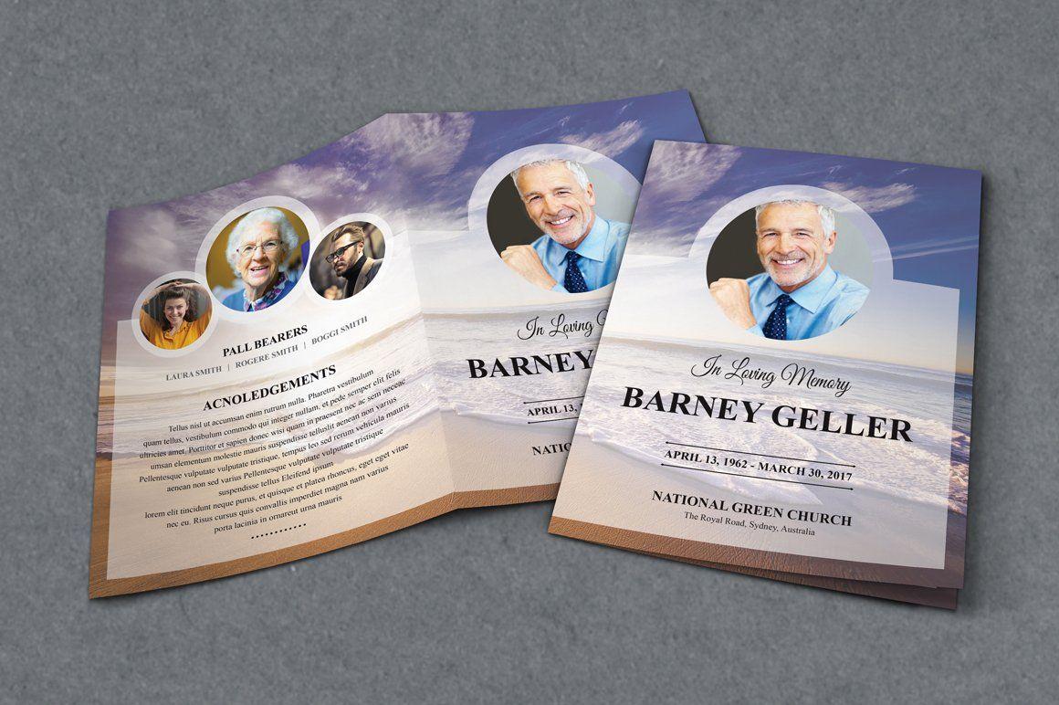 Funeral program template ad sponsored lettersize