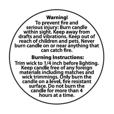 candle warning labels 2 inch candle making business. Black Bedroom Furniture Sets. Home Design Ideas