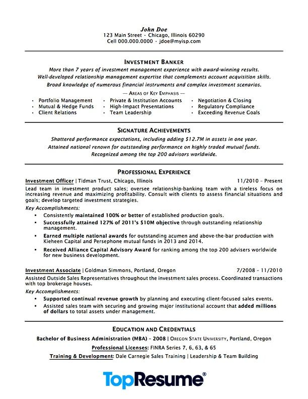 Resume Sample resume Pinterest Professional resume examples - investment banking resume sample