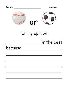 Opinion Writing Favorite Sports Persuasive Writing Opinion Writing Writing