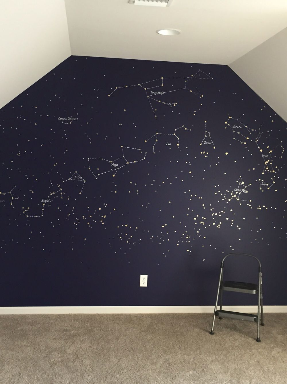 Constellation map mural painted with gold and silver paint pens in a deep blue wall