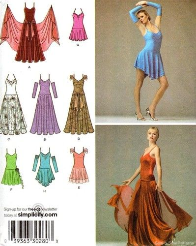 02bc370578e5 Simplicity 3912 SEWING PATTERN Ballroom Dance Dress Latin Tango ...