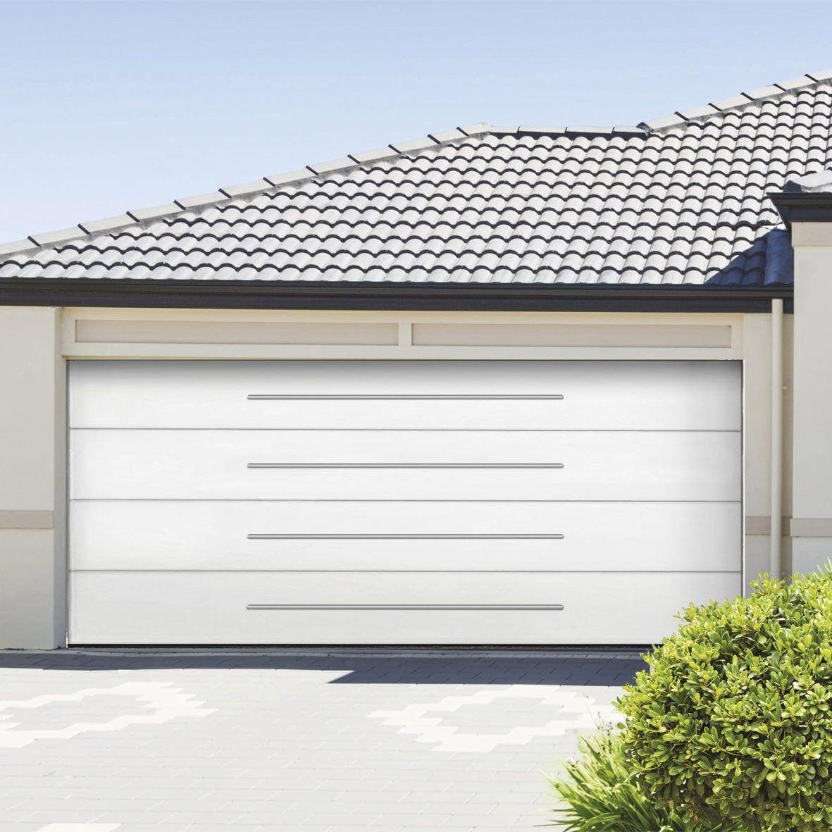 Porte De Garage Sectionnelle Stellium Motorisee H 200 X L 240 Cm Porte De Garage Sectionnelle Porte Garage Et Garage