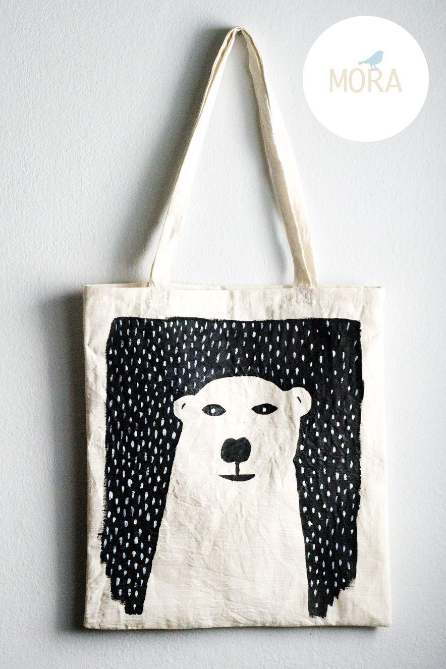 Bolsa De Tela pintada a mano modelo oso polar, $80 en https ...