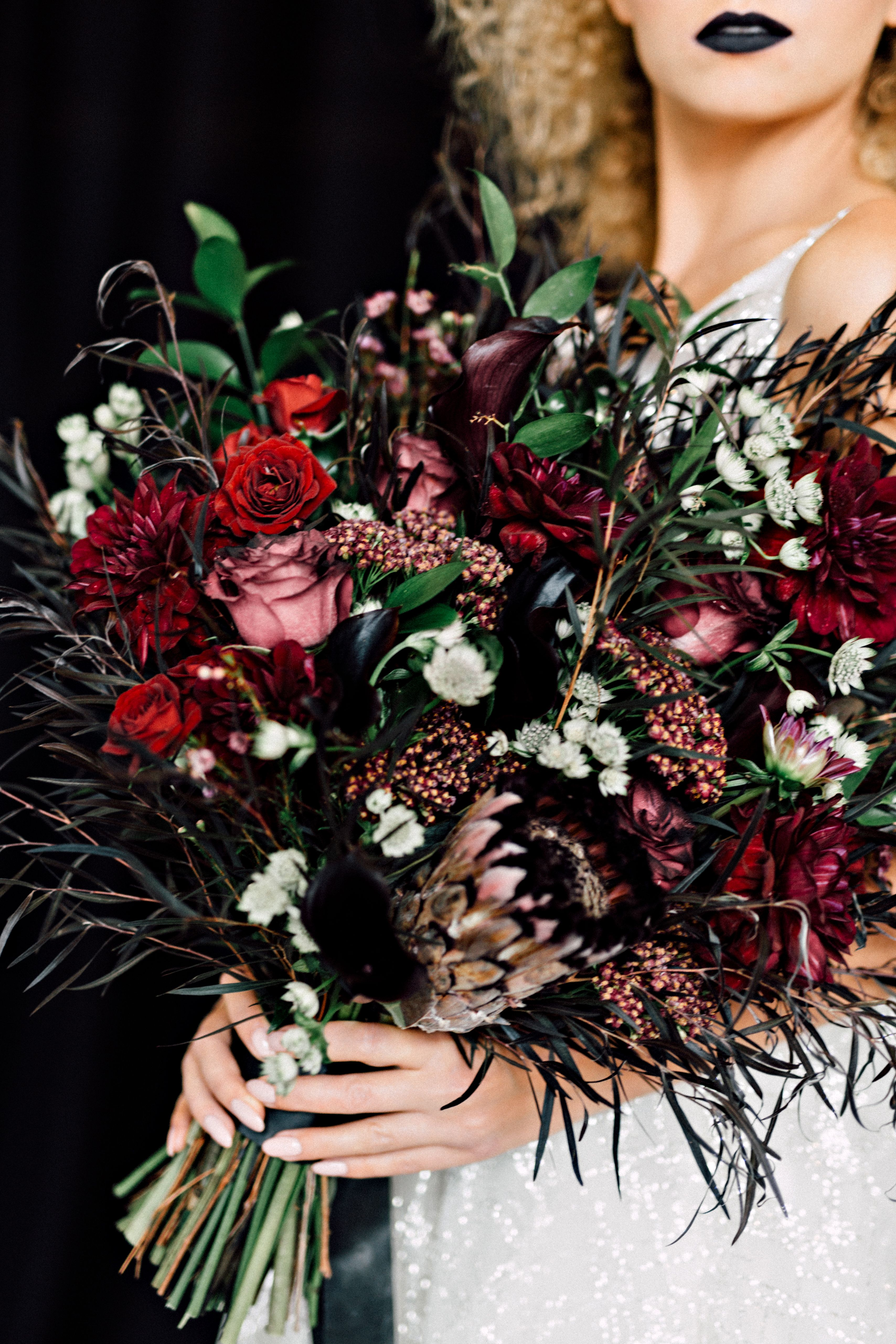 Moody Wedding Florals Dark Purple Black And Burgundy Flowers