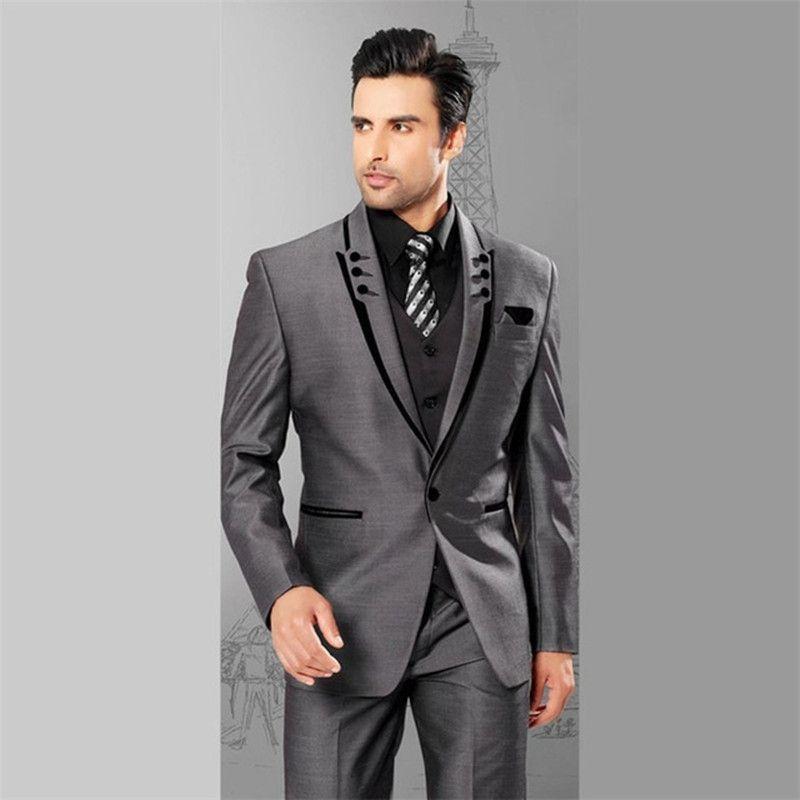 2017 grey 3 pieces Mens Suit Plaid Terno masculino Wedding Groom ...
